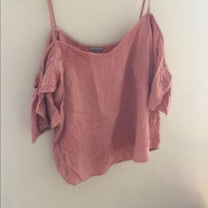Pale Pink Off the Shoulder Shirt